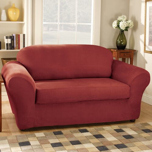 Sure-Fit Stretch Suede Separate Seat Loveseat Slipcover