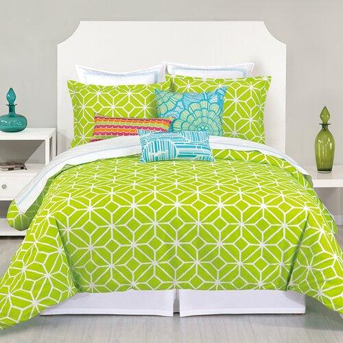 Trina Turk Lime green Geometric Bedding