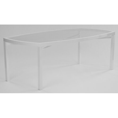 Eclipse Glass Top Rectangle Dining Table with Umbrella Hole