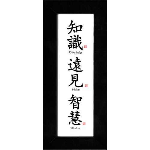 Oriental Design Gallery Chinese Calligraphy Knowledge, Vision and Wisdom Framed Textual Art