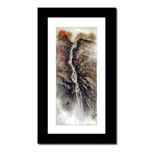 Waterfall and House by Lin Hung Tsung Framed Graphic Art