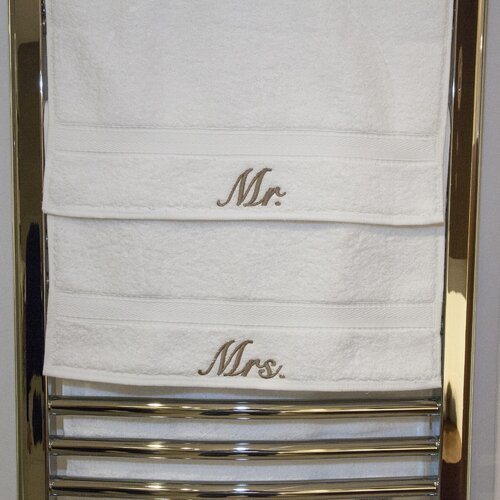 Linum Home Textiles Luxury Hotel and Spa Personalized Mr. and Mrs. Hand Towel