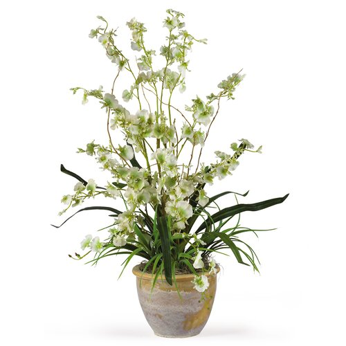 Nearly Natural Dancing Lady Silk Orchid Arrangement in Green