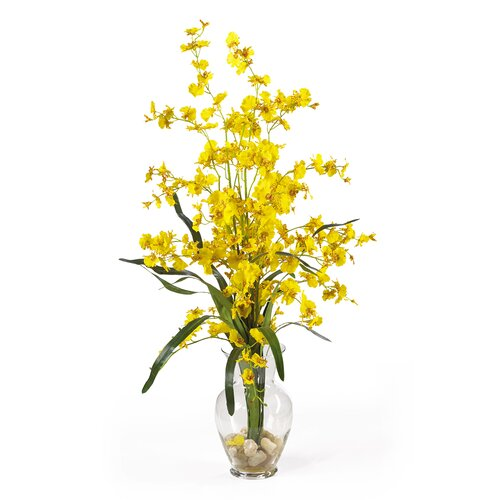 Nearly Natural Dancing Lady Liquid Illusion Silk Orchid Arrangement in Yellow
