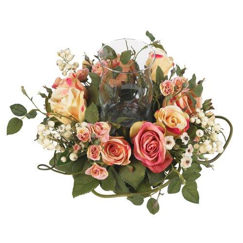 Silk Rose Arrangement Candleholder in Pastel