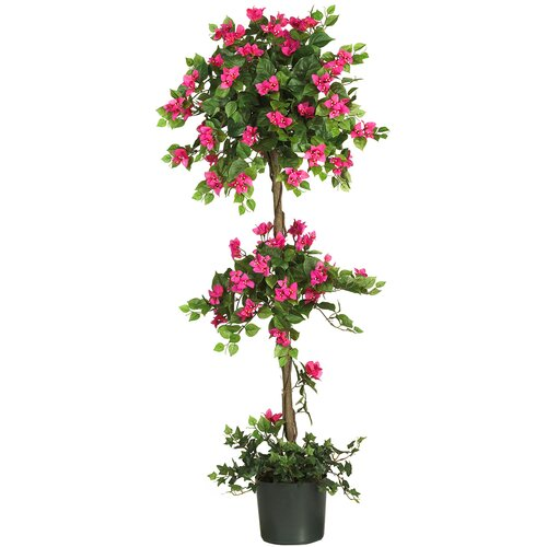 Nearly Natural Mini Bougainvillea Round Topiary in Planter