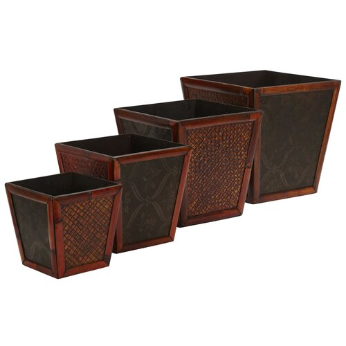 Nearly Natural Square Decorative Planters (Set of 4)