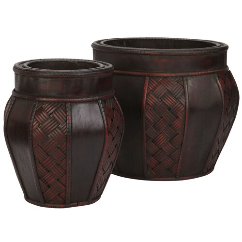 Nearly Natural Weave Panel Round Decorative Planters (Set of 2)