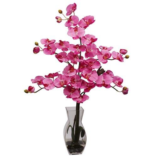 Phalaenopsis with Vase Silk Flower Arrangement in Dark Pink