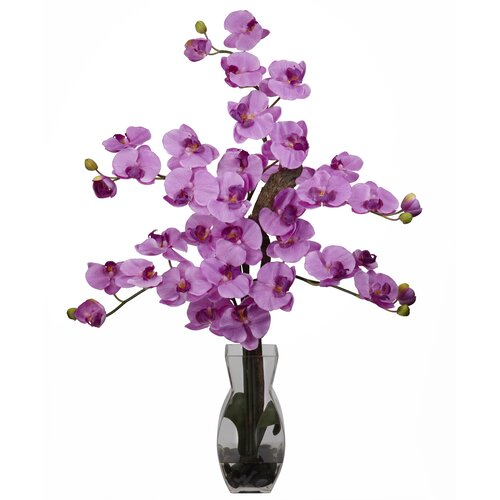 Nearly Natural Phalaenopsis with Vase Silk Flower Arrangement in Mauve