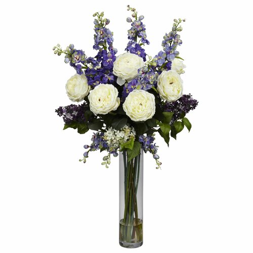 Nearly Natural Rose, Delphinium and Lilac Silk Flower Arrangement in Purple