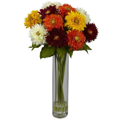 Nearly Natural Sunflower with Cylinder Silk Flower Arrangement in Assorted