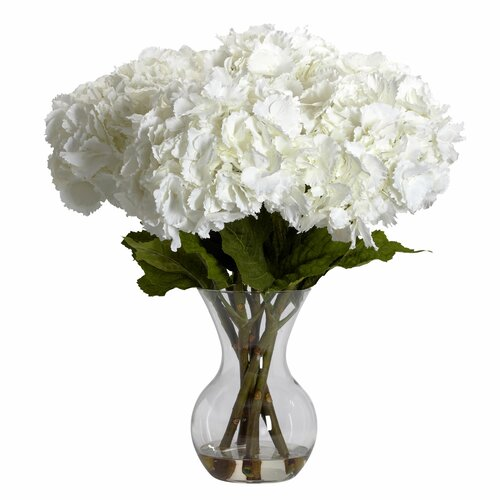 Nearly Natural Large Hydrangea with Vase Silk Flower Arrangement