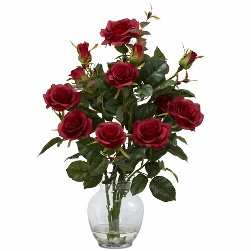 Nearly Natural Rose Bush with Vase Silk Flower Arrangement in Red