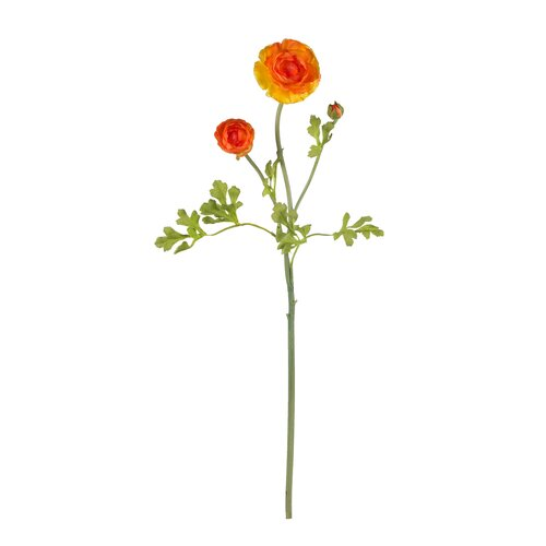 "Nearly Natural 23"" Ranunculus Stem in Orange"