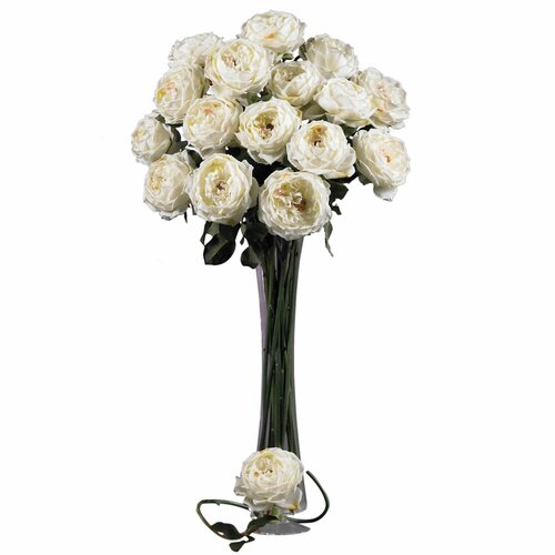 """Nearly Natural 31"""" Large Rose Stem in White"""