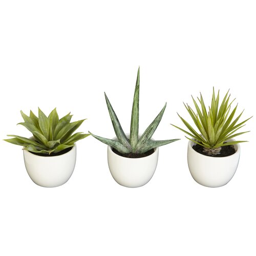 Nearly Natural 3 Piece Southwest Desk Top Plant in Pot