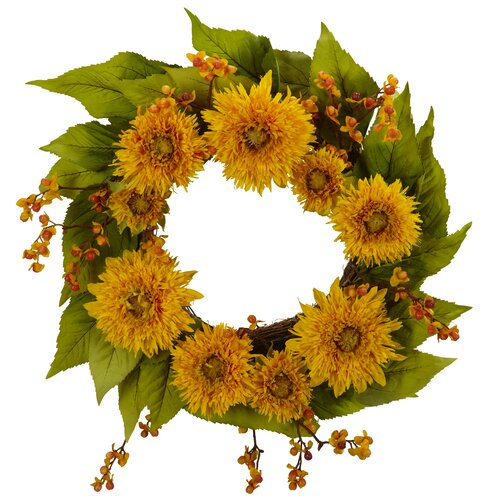 "Nearly Natural 22"" Golden Sunflower Wreath"