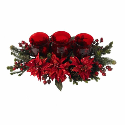 Nearly Natural Poinsettia and Berry Triple Candelabrum