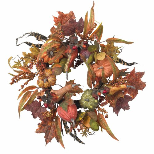 "Nearly Natural 24"" Pumpkin & Berry Wreath"