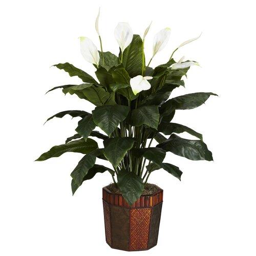 Nearly Natural Spathyfillum Silk Floor Plant in Decorative Vase