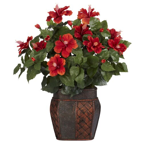 Nearly Natural Hibiscus Desk Top Plant in Decorative Vase