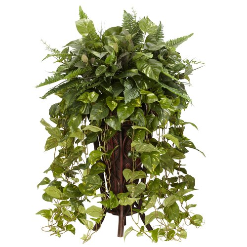 Nearly Natural Vining Mixed Floor Plant in Decorative Vase