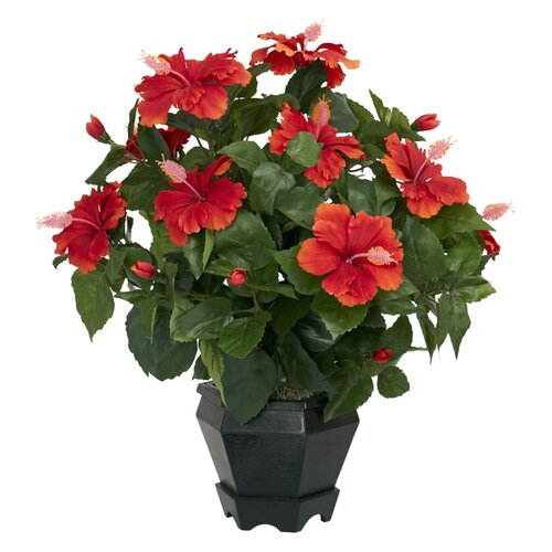 Nearly Natural Hibiscus Desk Top in Decorative Vase