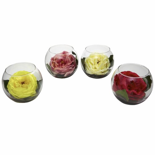 Rose with Bubble Vase (Set of 4)