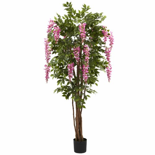 Nearly Natural Wisteria Silk Tree in Pot