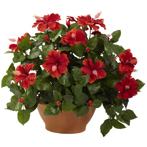 Nearly Natural Nearly Natural Hibiscus Desk Top Plant in Planter