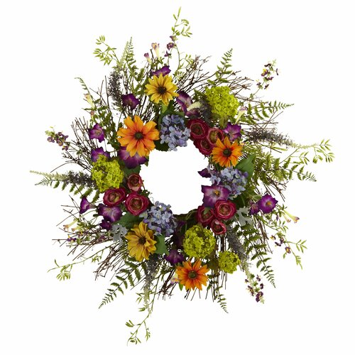 Spring Garden Wreath with Twig Base