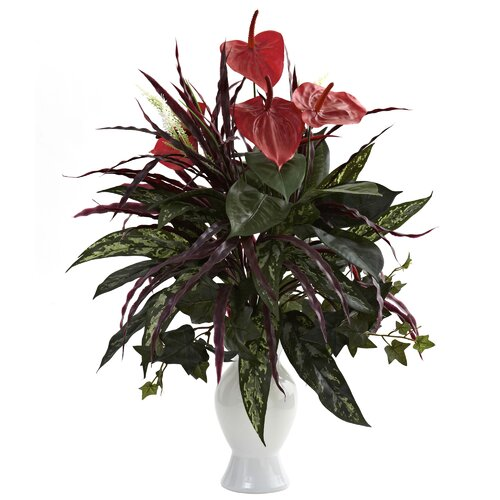 Nearly Natural Anthurium with Mixed Greens and White Vase