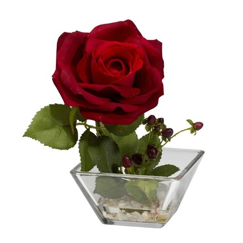 Nearly Natural Rose with Square Vase Silk Flower Arrangement