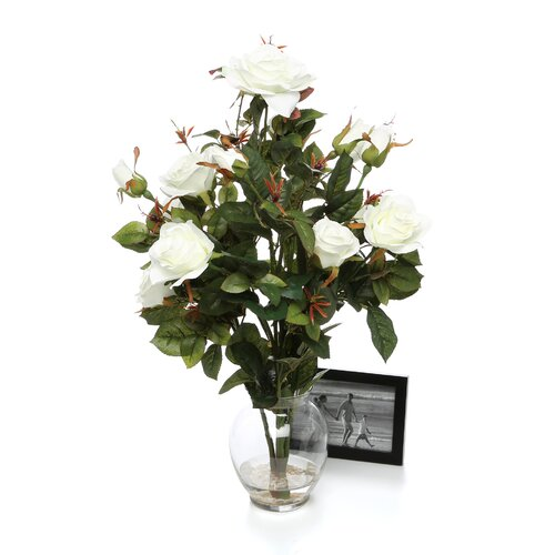 Nearly Natural Rose Bush with Vase Silk Flower Arrangement in White