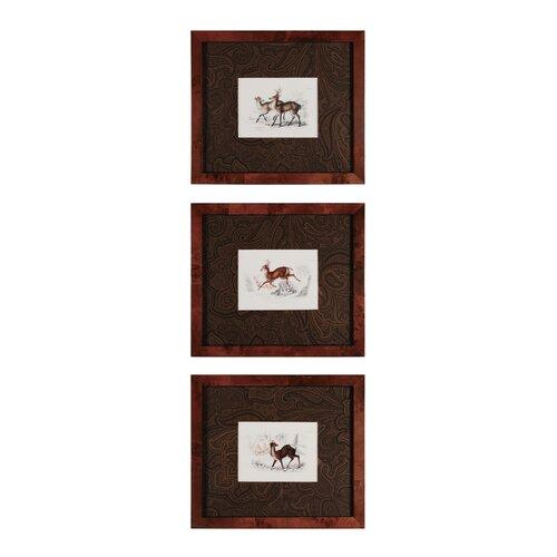 Deer 3 Piece Framed Graphic Art Set