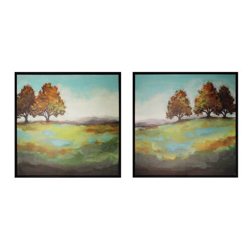 Turning Leaves 2 Piece Framed Painting Print Set