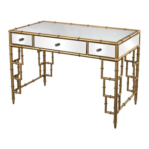 Mirror Top Desk With Bamboo Frame