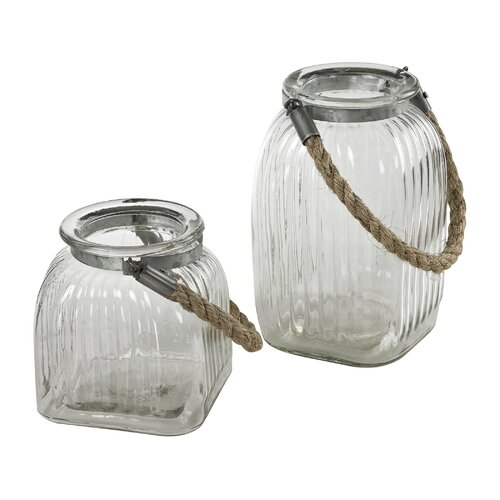 2 Piece Glass Jar Vase Set