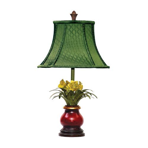 """Sterling Industries Flowers in Ruby 21.5"""" H Table Lamp with Bell Shade"""
