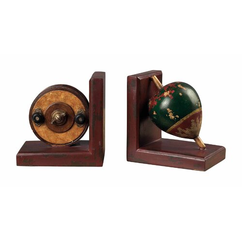 Sterling Industries Antique Fishing Reel and Float Book Ends