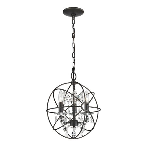 Restoration 3 Light Globe with Crystal Foyer Pendant