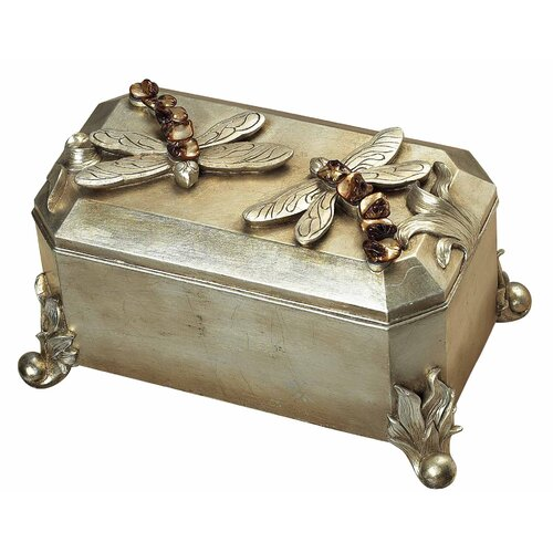 Sterling Industries Dragonfly Box in Silver Leaf