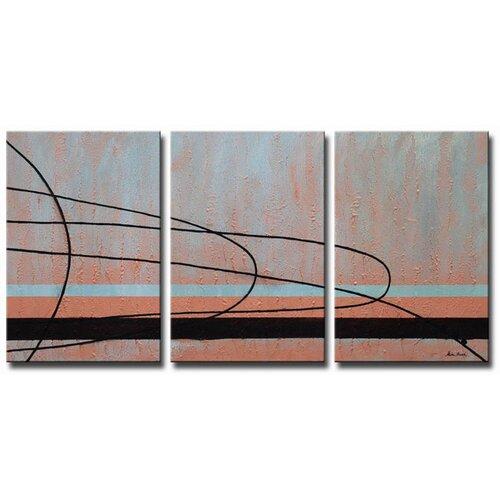 Cashmere and Copper 3 Piece Original Painting on Canvas Set