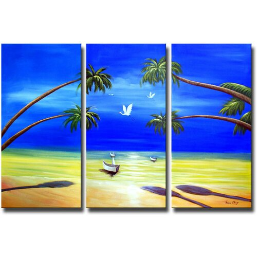White Walls Ocean Avenue 3 Piece Original Painting on Canvas Set