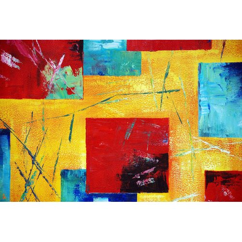 White Walls Colorful Original Painting on Canvas