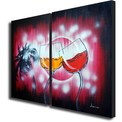 White Walls Dancing in the Rain 2 Piece Original Painting on Canvas Set