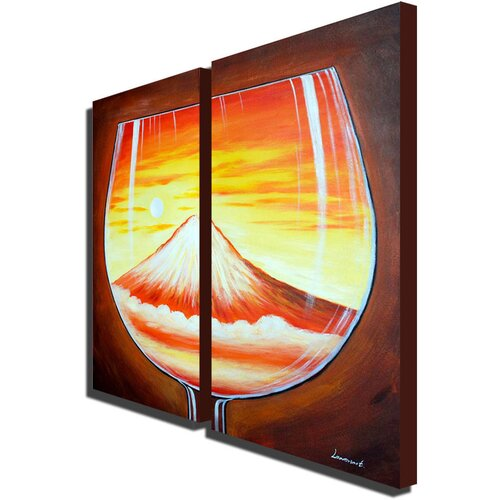 White Walls Glass Mountain 2 Piece Original Painting on Canvas Set