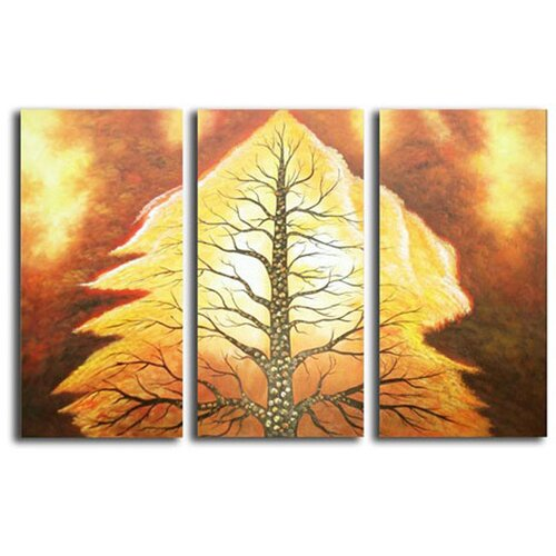 White Walls Volcanic Tree 3 Piece Original Painting on Canvas Set