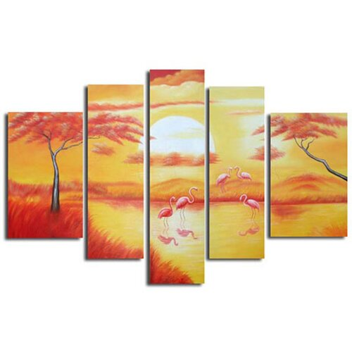 White Walls Pink Paradise 5 Piece Original Painting on Canvas Set in Pink